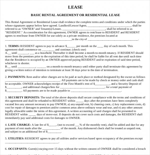Printable Rental Agreement   Free Word  Documents Download