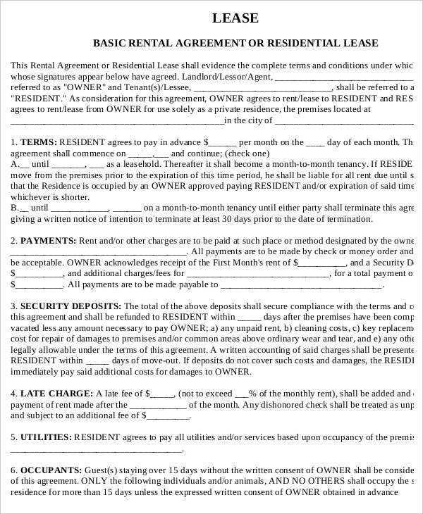 Printable Rental Agreement 7 Free Word PDF Documents download – Printable Rental Agreement Template