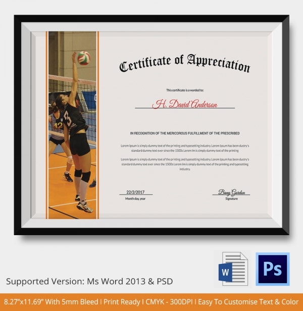 Volleyball Certificate of Appreciation