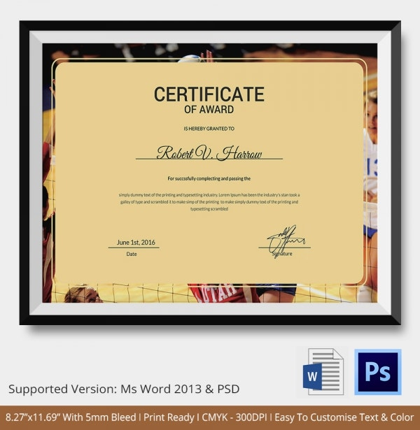 VolleyBall Certificate 5 Word PDF Documents Download – How to Make Certificates in Word