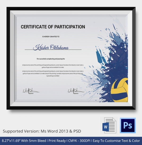 Best Volleyball Certificate Template Download