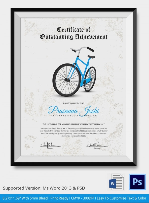 Cycling Certificate of Achievement