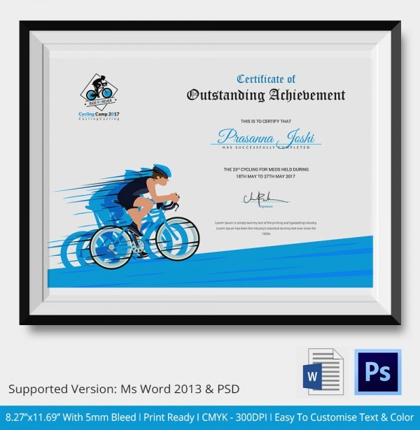 Best Cycling Certificate Template
