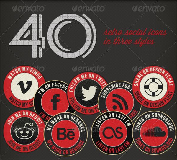 Retro Social Media Icon