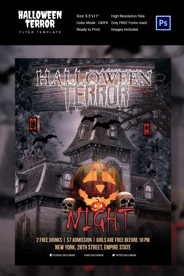 7 halloween flyer templates psd format download free premium halloween terror night flyer saigontimesfo
