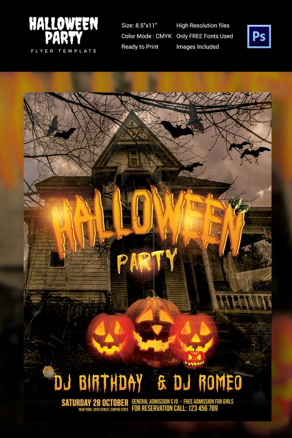 Halloween DJ Party Flyer PSD