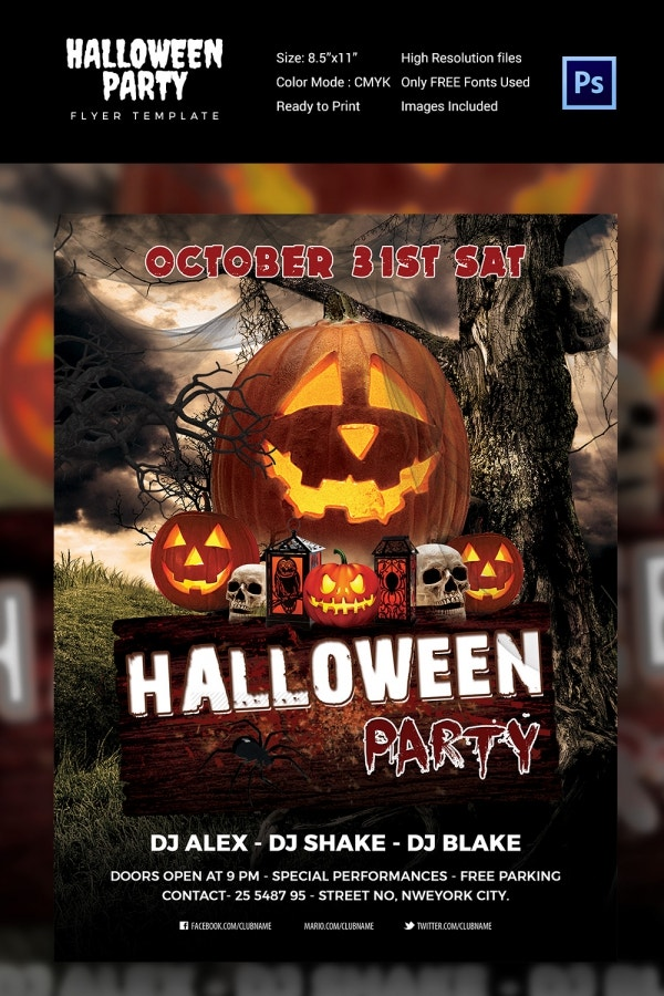 Modern PSD Halloween Party Flyer