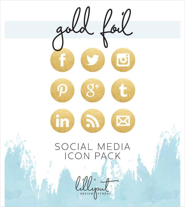 Gold Foil Social Media Icon