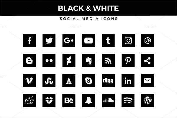 silhouette black white social media icons
