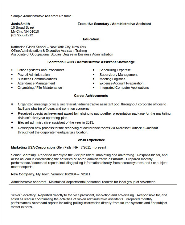 10 administrative assistant resume templates pdf doc for Sample resume for executive assistant to senior executive
