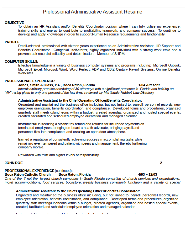 Administrative Assistant Resume Templates - 6+ Free Word, Pdf