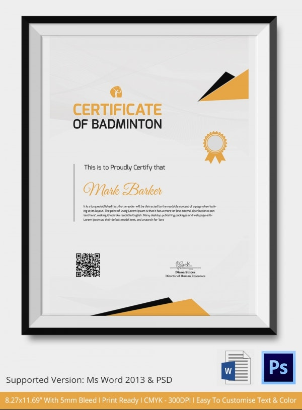 Badminton Certificate Template Download