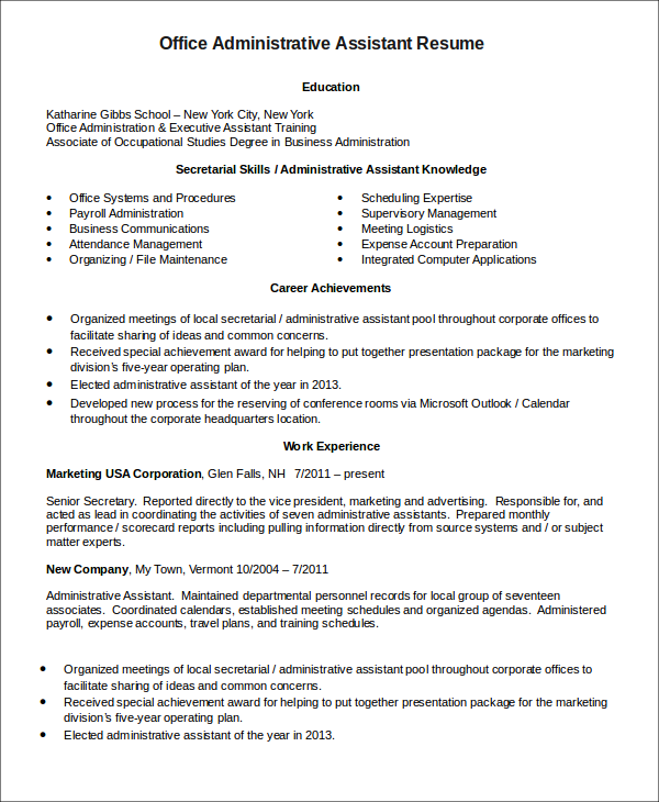 senior administrative assistant resume - Office Assistant Resume Sample