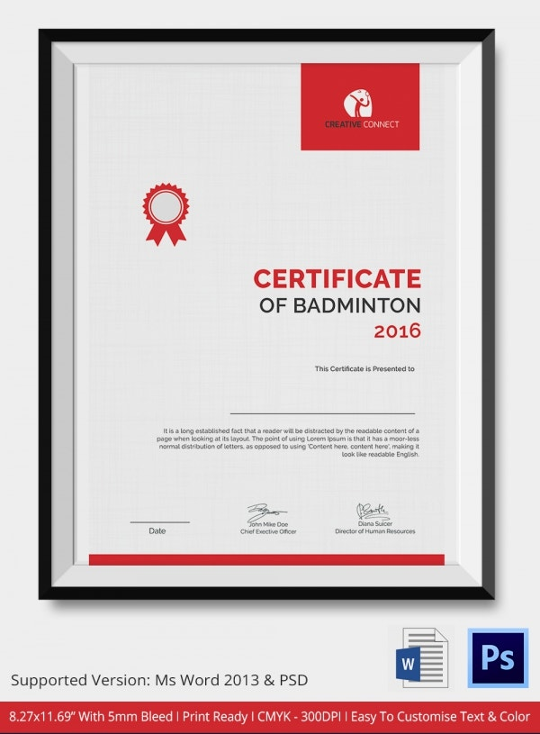 Modern Badminton Certificate Template