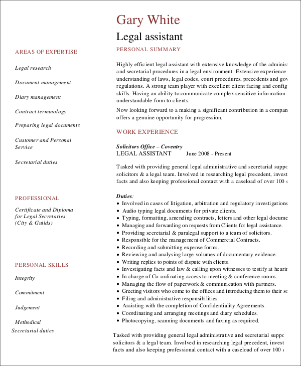 legal administrative assistant resume1