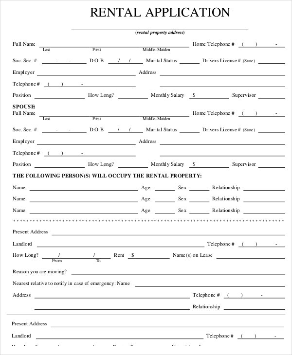 tenant application form word