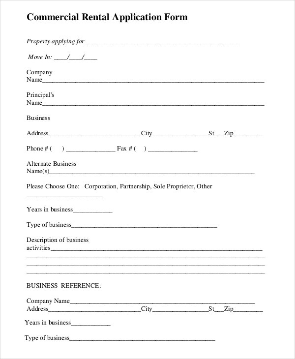 Rental Application Templates   Free Word Pdf Documents