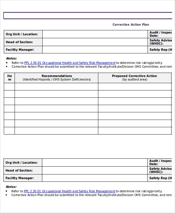 Corrective Action Plan Template  Free Action Plan Templates