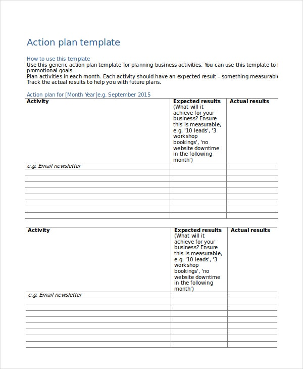Action Plan Templates - 9+ Free Word, Pdf Documents Download
