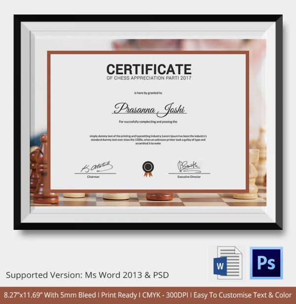 Chess certificates 7 word psd format download free premium chess appreciation certificate yadclub Image collections
