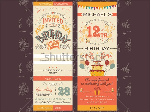 20 Printable Party Invitations Free PSD AI Vector EPS Format – Ticket Style Birthday Invitations