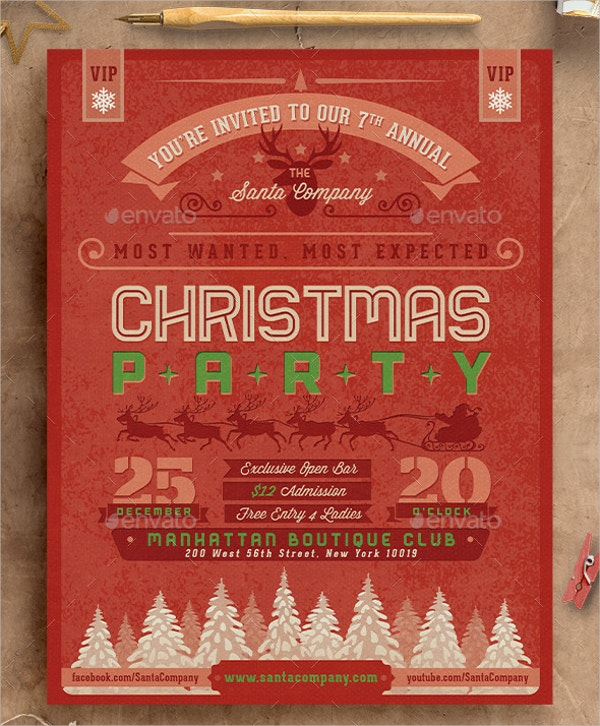 Retro Christmas Party Invitation to Print