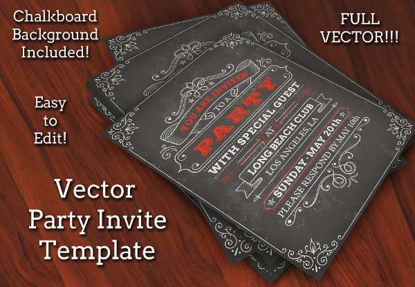 party invites template on chalkboard background