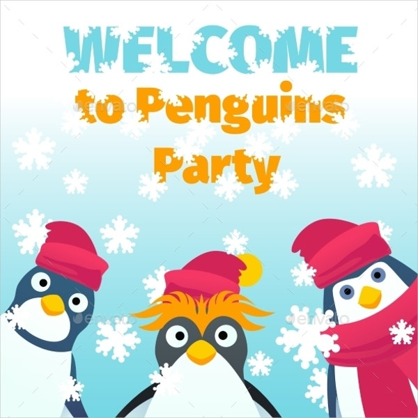 pritable penguin party invitation