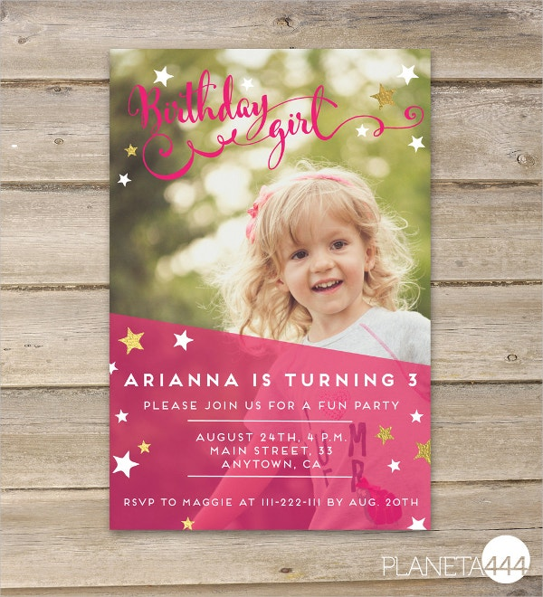 Printable Baby Girl Birthday Invitation