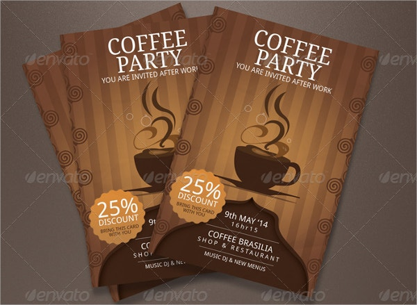 printable coffee party invitation template