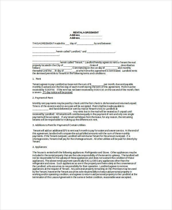 Lease Template 7 Free Word Documents Download – Rental Lease Template Word