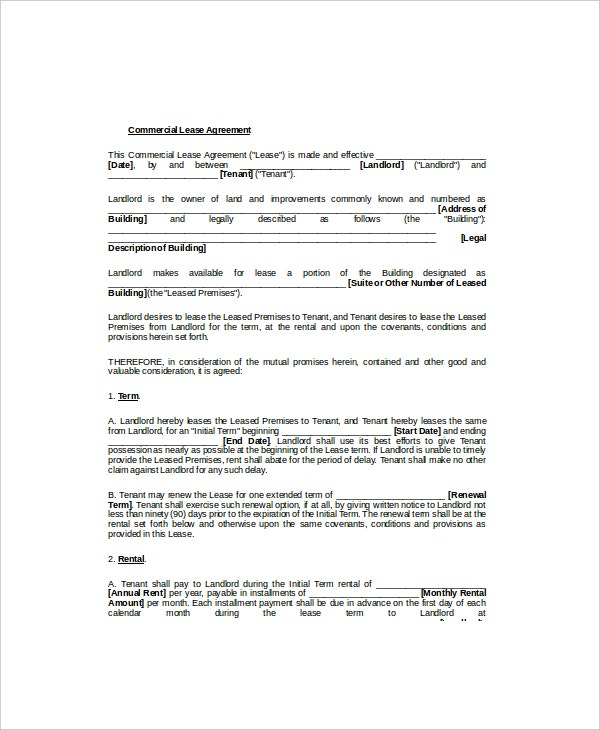 Commercial Lease Template Word  Lease Template Word