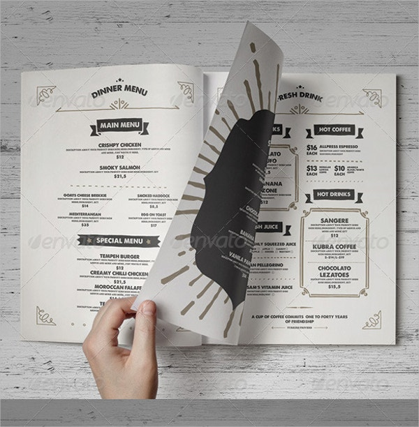 Printable Food Menu Template