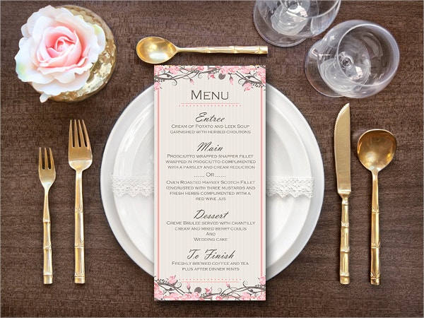 Pink Wedding Menu Template