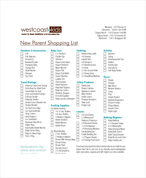 Baby Registry Checklist Template - 8+ Free Word, Pdf Documents