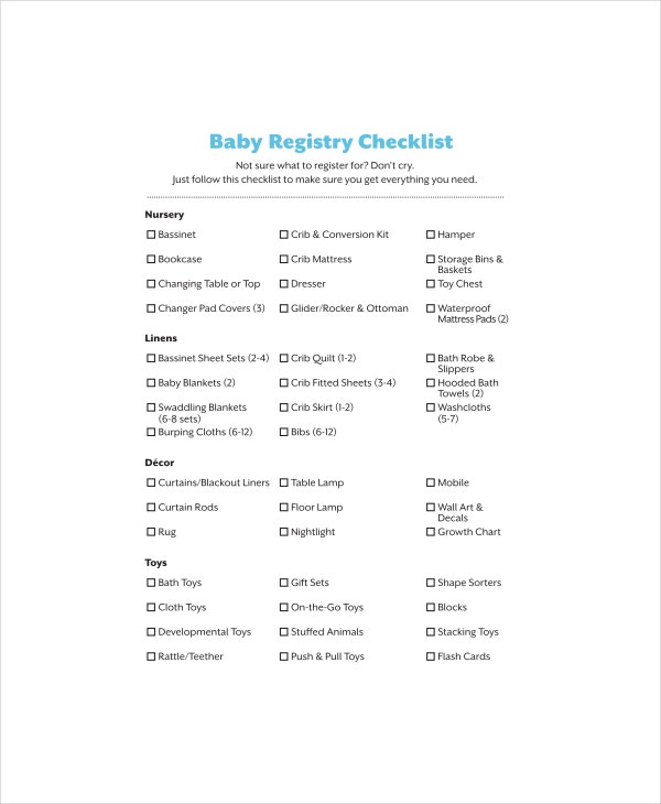 Baby Registry Checklist Template   Free Word Pdf Documents