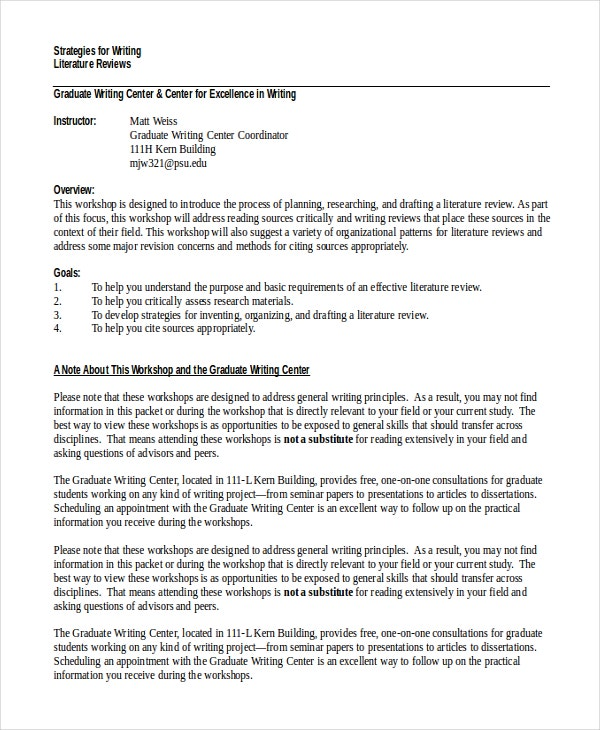writing and presenting literature review khalid Literature Review Example Literature Review Example