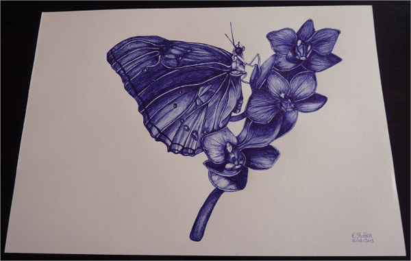 Butterfly Ballpoint Sketch