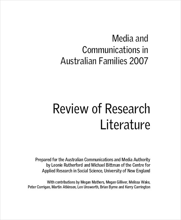 research literature review example