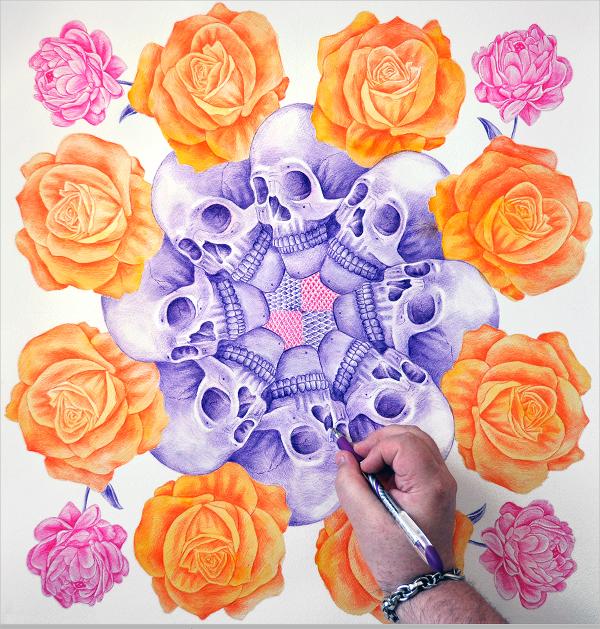 Skulls, Roses Ballpoint Artwork