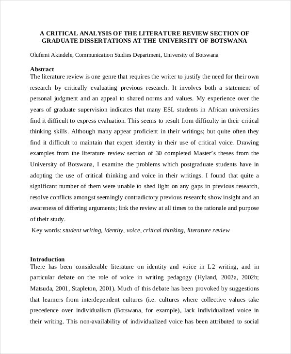 Example of a literature review for a dissertation
