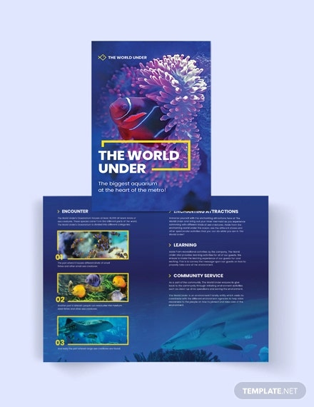 aquarium bi fold brochure template