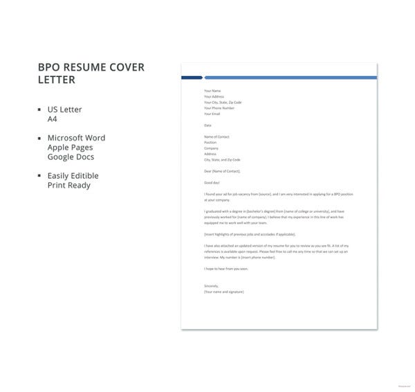 bpo resume cover letter template