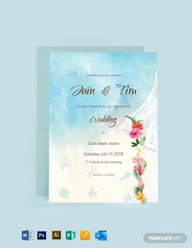 beach wedding invitation card template