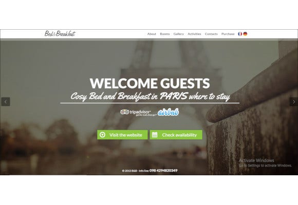 bed breakfast responsive single page template
