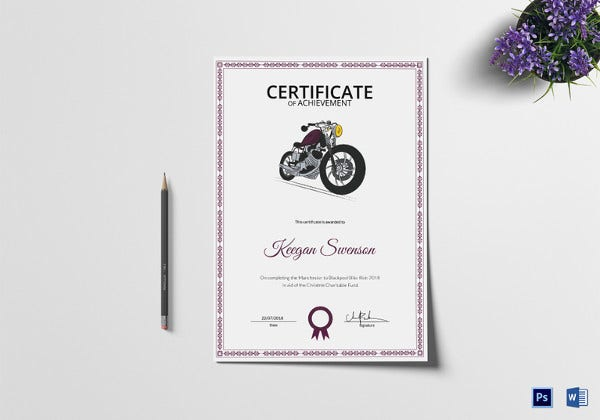 bike riding achievement certificate