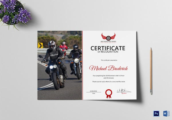 bike riding recognition certificate psd