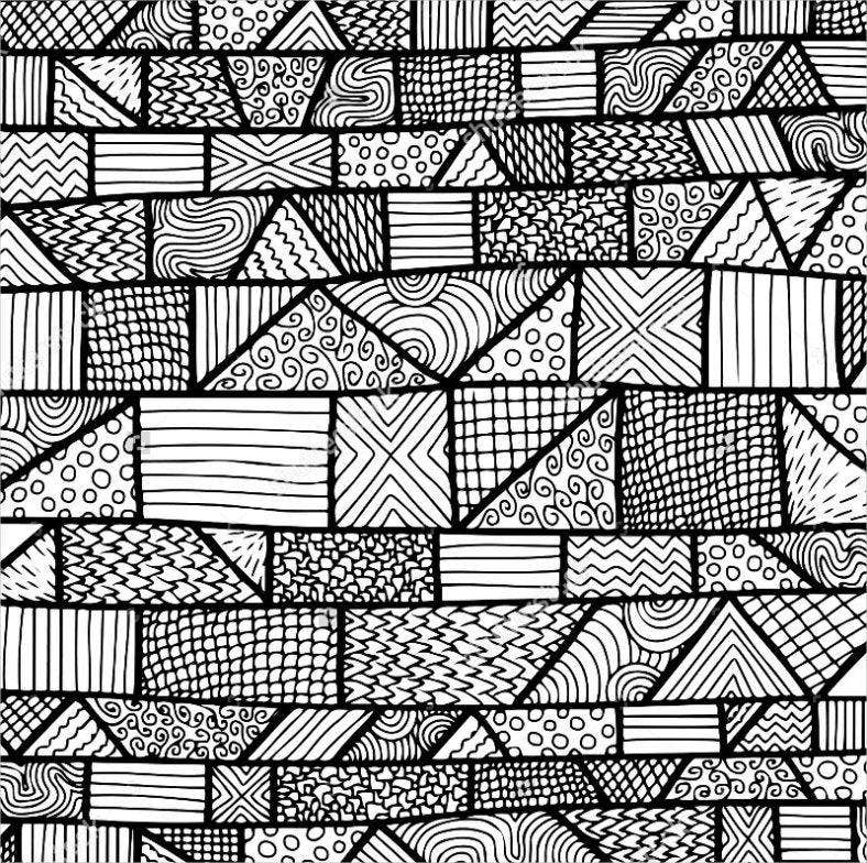 black white pattern with zentangle 788x784