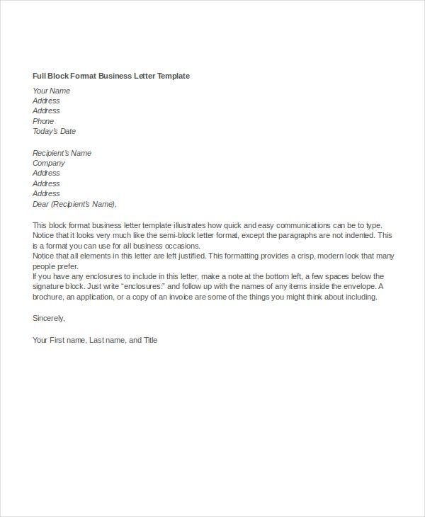 business letter format 12 free word pdf documents download