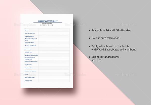business term sheet template